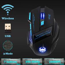 Funkmaus 2.4 GHz Optisch Gaming Wireless Mouse Maus LED 7 Tasten für Laptop PC