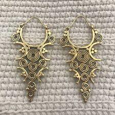 Tribal Spiral Drop Earrings in Brass