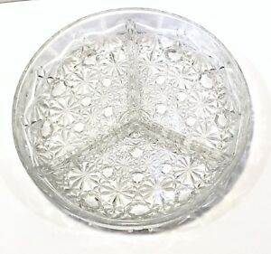 Vintage-Veropa-Clear-Cut-Glass-3-Section-Hors-D-oeuvres-Relish-Dish-France-Box