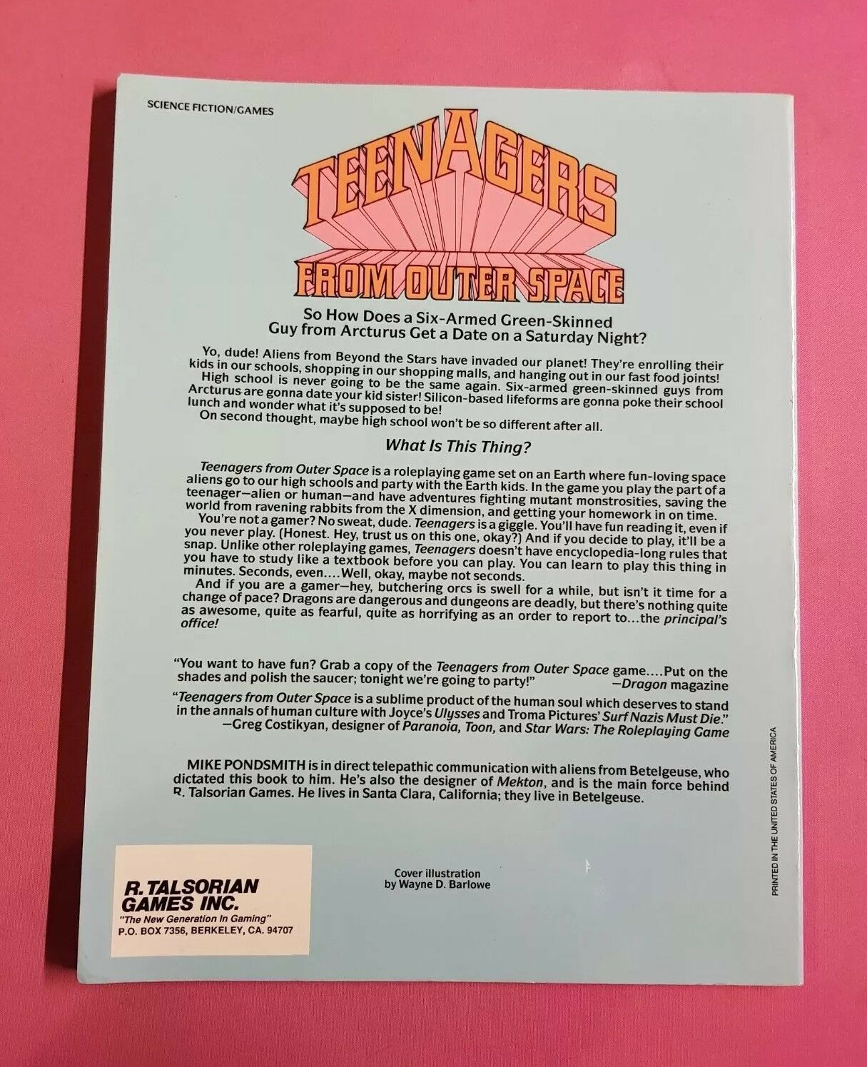 Teenagers From Outer Space-RPG GN GN GN Jeu Mike pondsmith R. Talsorian Épuisé a02a3c