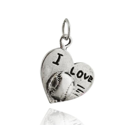 I LOVE BASEBALL Charm-Argent Sterling 925 Sports Coeur Pendentif Boule de team NEW