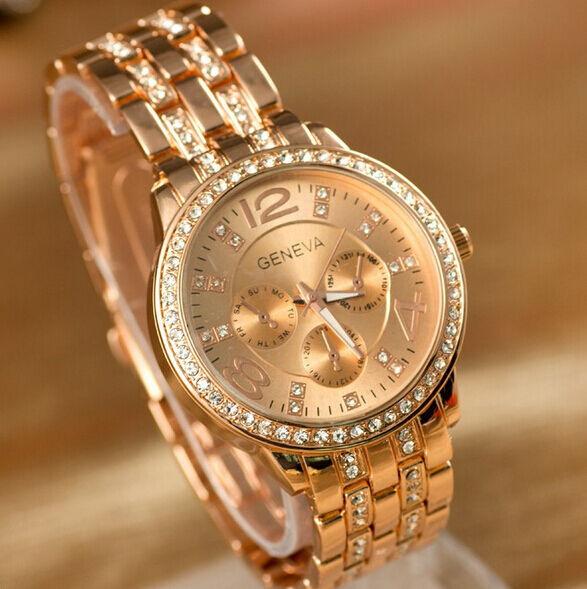 Women Men Geneva Bling Stainless Steel Quartz Rhinestone Crystal Wrist Watch
