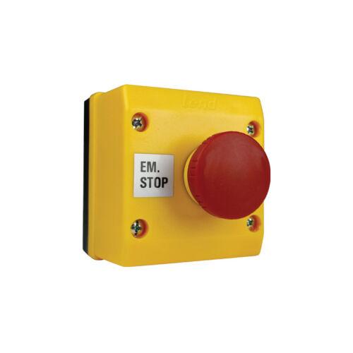 ENCLOSED RED ILLUMINATED 12VDC EM-STOP STATION TWIST-RELEASE /& 1N//C BLOCK