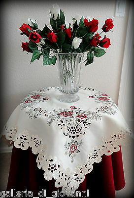 "Table Topper Victorian Rose 33"" Sq Gold Thread Vintage Antique Style Tablecloth"