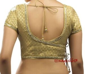 Details About Readymade Saree Blouse Designer Sari Blouse Indian Choli Mirror Border Sari Top