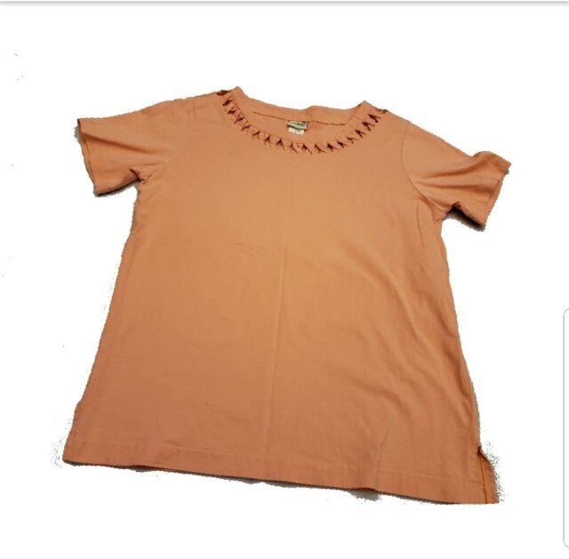 Boca Bay women tee Small peach short sleeve soft shirt cut out detail Casual top