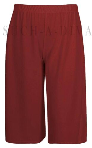 Ladies Womens Elasticated Stretch Wide Leg Culottes 3//4th Length Plus Size 8-26