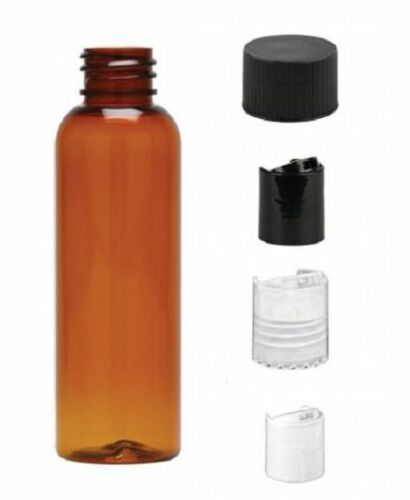2 oz Amber Bullet Plastic Bottle 12 bottles /& black ribbed Lids FREE SHIP PET