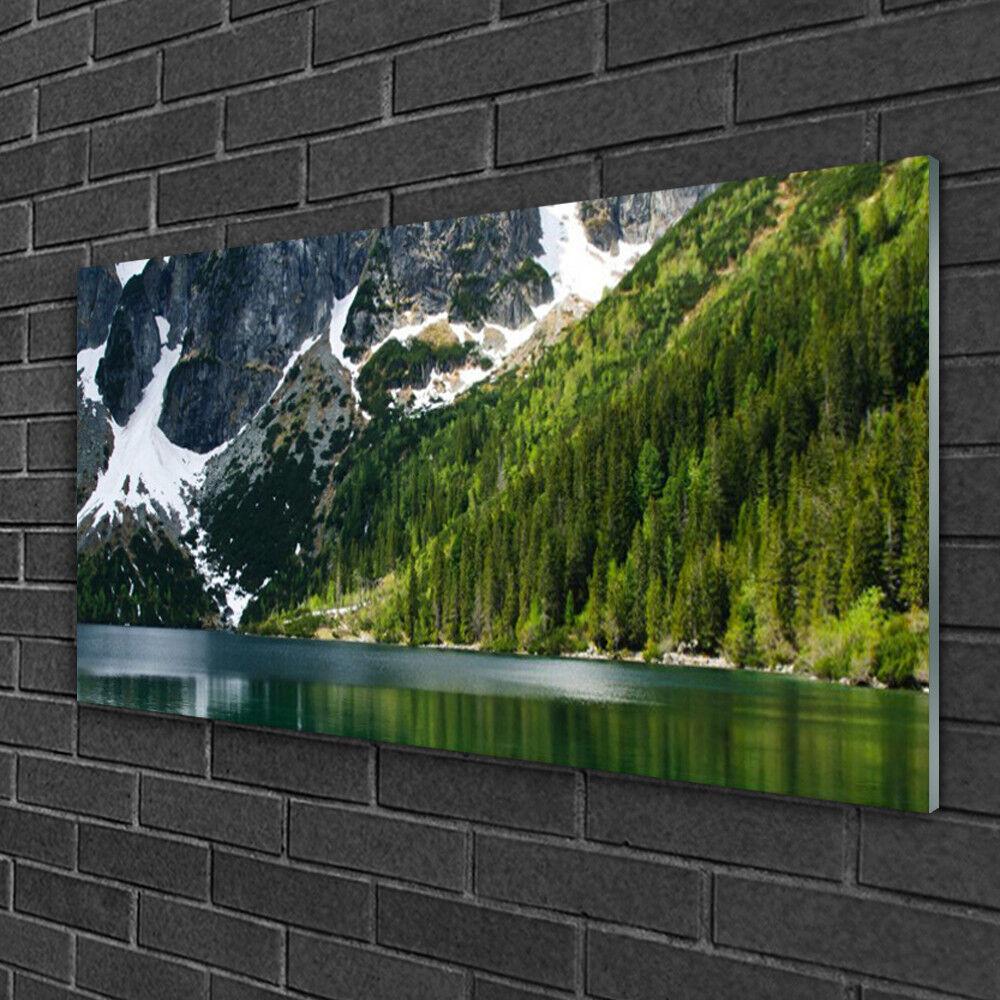 Image sur verre acrylique Tableau Impression 100x50 Paysage Lac Montagnes Forêt