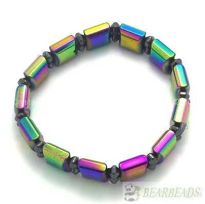 Natural Hematite Gemstones Multi-Colored Beaded Strechy Bracelet 11mm Wide 1Pcs