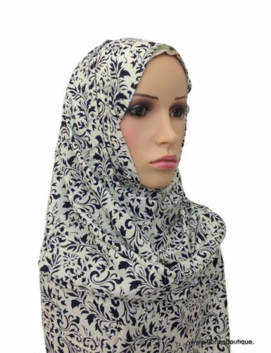 Large floral cotton Hijab wrap scarf shawl practical and kind to the skin