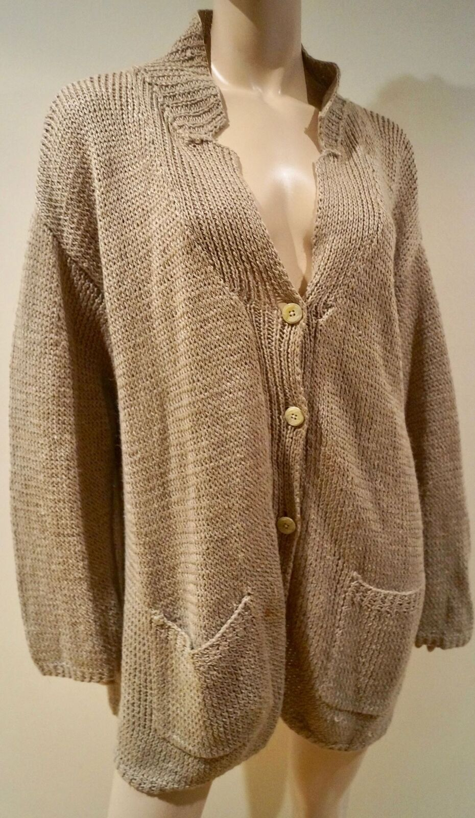 NICOLE FARHI Beige Linen Loose Chunky Knit Long Length Slouchy Cardigan Top Sz M