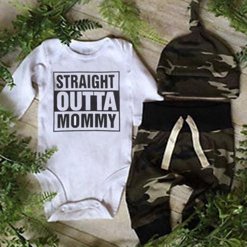 Infant Baby Boy OUTTA Clothes Camo Romper Playsuit Leggings Pants 3Pcs Outfits