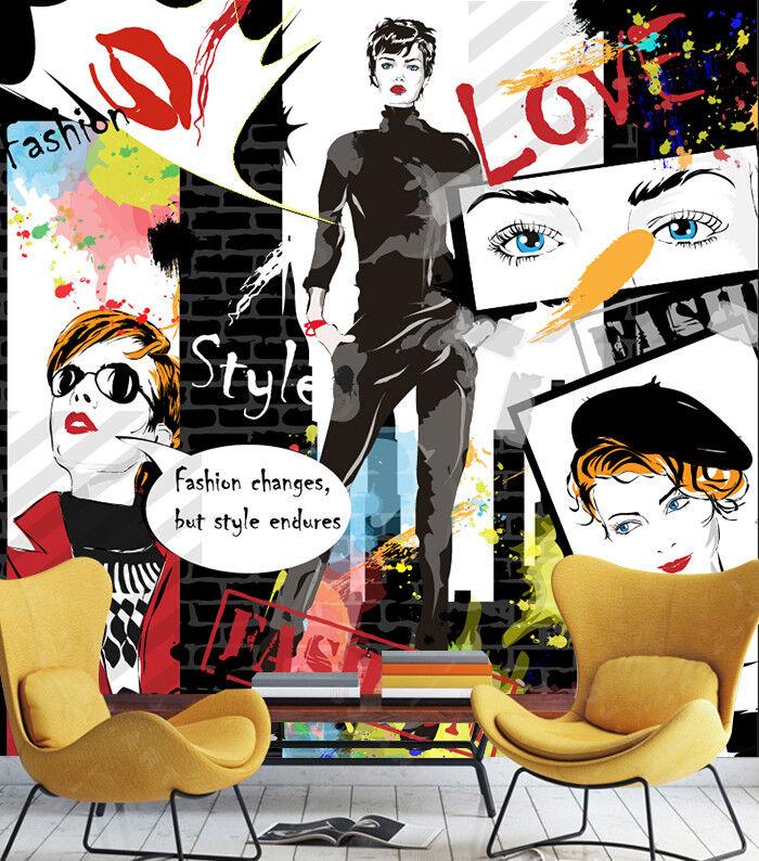 3D Comic Mädchen Plakat  8933 Tapete Wandgemälde Tapeten Bild Familie DE Lemon