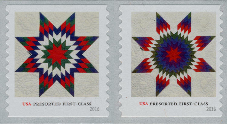 2016 25c U.S.A. Presorted Star Quilts, Coil Pair Scott
