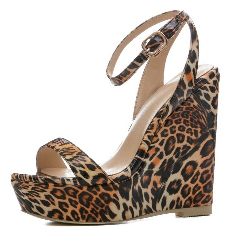 Women Ladies EXTREME High Heels Sandals Platform Leopard Club shoes Plus Size 2-7