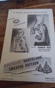 Vtg-Mary-Maxim-Ramblin-039-Rose-Cardigan-Sweater-Cowichan-style-child-size-8-12