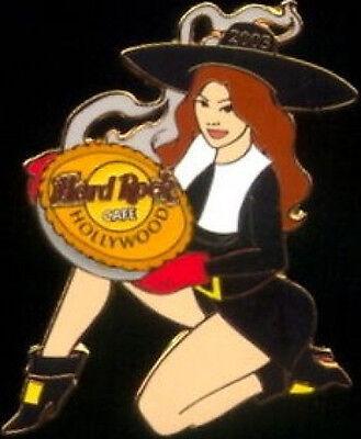 Hard Rock Cafe HOLLYWOOD 2003 THANKSGIVING PIN Sexy Puritan Girl w/Pumpkin Pie