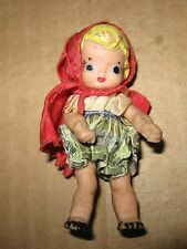 """Vintage 1950s 60s Unmarked Hand Painted Rubber LITTLE RED RIDING HOOD DOLL 3"""""""