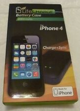 NEW LifeCharge Battery Phone Case Apple iPhone 4 2000 mAh Life Charge Black