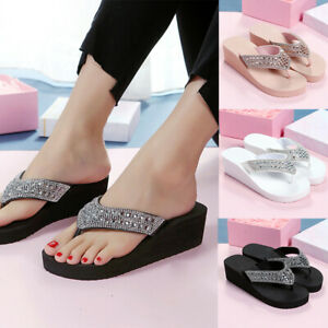Women-039-s-Wedge-Diamante-Flip-flops-Casual-Solid-Color-Slip-On-Slippers-Size-5-8