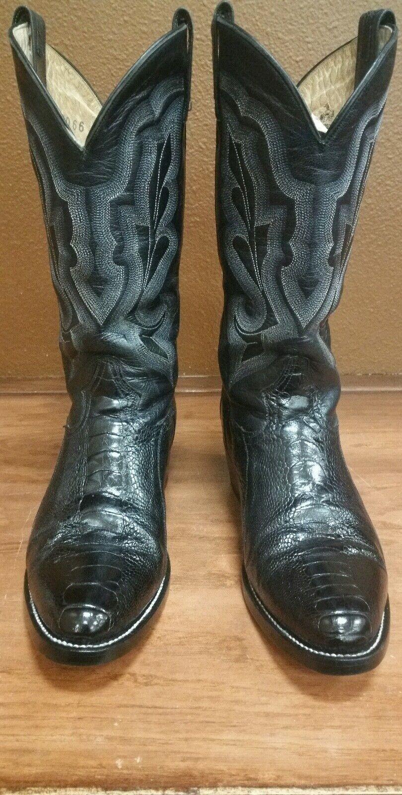 Mens Cowboy Stiefel schwarz Ostrich Leg 7 1 2 D RestGoldt