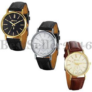 Men-039-s-Women-039-s-Quartz-Analog-Luxury-Dial-Sport-Fashion-Wrist-Watch-Leather-Strap