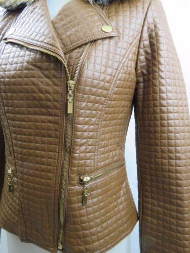Saddle Trim Faux Brown L Fur jakke læder Quiltet Nwot Kressley Kærlighed Carson S cnBW4ff