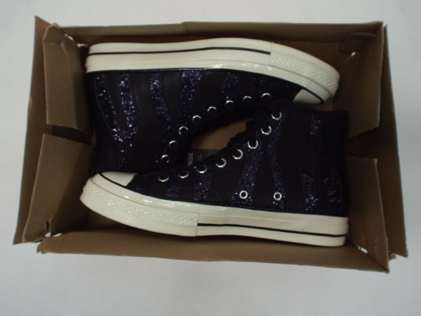 New Womens 9 Converse CTAS 70 Hi Black Purple Bling Bling Bling Leather shoes  100 559843C 419afc