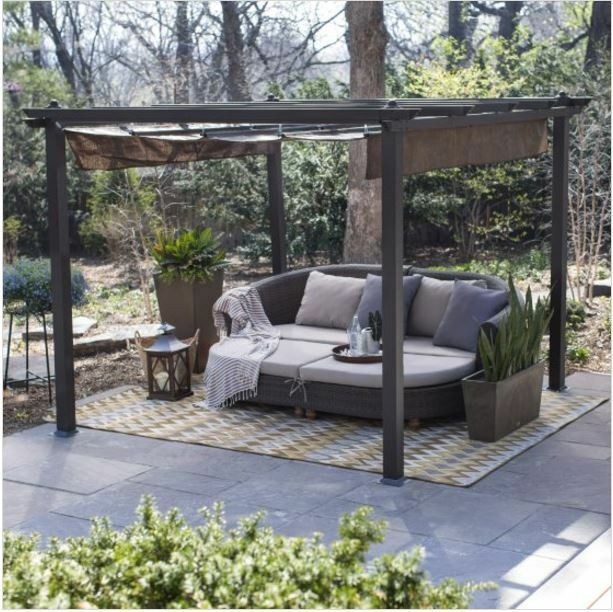 Pergola Kit Canopy Cover Metal Gazebo Patio Furniture Backyard Durable  Shelter