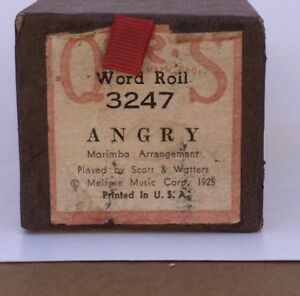 Vintage Qrs Player Piano Word Roll Scroll 3247 Angry-ne Produisait Plus-afficher Le Titre D'origine La RéPutation D'Abord