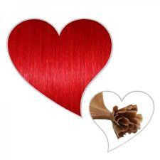 25 Strähnen #rot 60 cm, Remy-Echthaar, 1g, feuerrot, knallrote Extensions 60cm