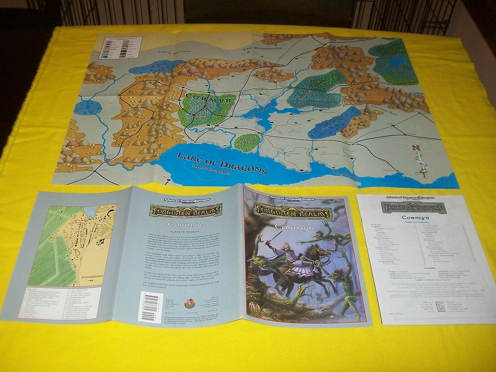CORMYR FORGOTTEN REALMS DUNGEONS & DRAGONS AD&D 2ND EDITION TSR - 2 WITH MAP