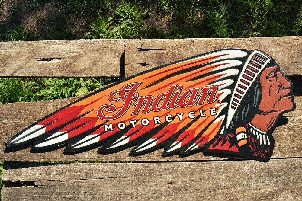 Indian Motorcycle Embossed Tin Metal Sign Chief Scout
