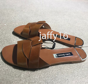4e9c4afd0827 ZARA NEW WOMAN LEATHER CROSSOVER SANDALS FLAT SLIDE BROWN 35-42 REF ...