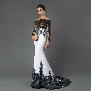 Long Sleeve Evening Dress Mermaid Appliques Sweep Train Elegant Gown For Ladies