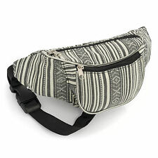 Bum bag fanny pack money belt-purse-BLACK WHITE stripe festival holidays ❤ it