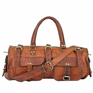 Men/'s genuine Leather Carry on Vintage Duffle Travel Gym Weekend Overnight Bag