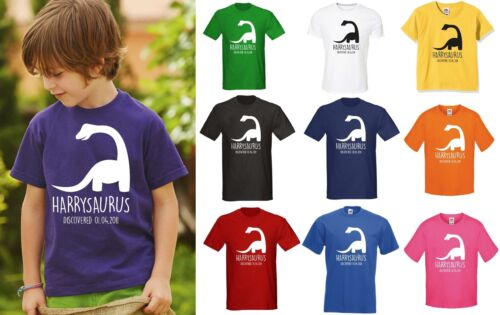 PERSONALISED KIDS DINOSAUR T-SHIRT ANY NAME BIRTHDAY GIFT BOYS GIRLS JURASSIC