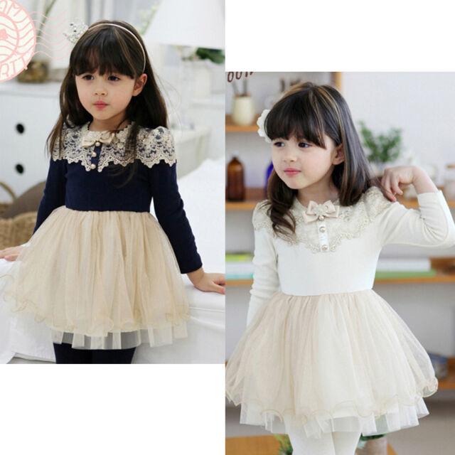 Cute Baby Girls Kids Lace Dress Single Skirt Fall Spring Long Tutu Dress