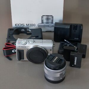 CANON-EOS-M100-compacts-Camera-amp-EF-M-15-45-mm-f-3-5-6-3-objectif-IS-STM-Argent