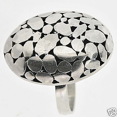 Sterling Silver Handmade Oval Fashion Ring Size 5.75