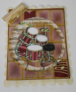 PK-2-BIRTHDAY-DRUMS-TOPPERS-EMBELLISHMENTS-FOR-CARDS-CRAFT-6-VARIATIONS
