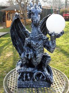 80-cm-Drachen-Gothic-Mystik-Garten-Fantasy-Skulptur-DRACHENLAMPE-Tier-Figur-Deko
