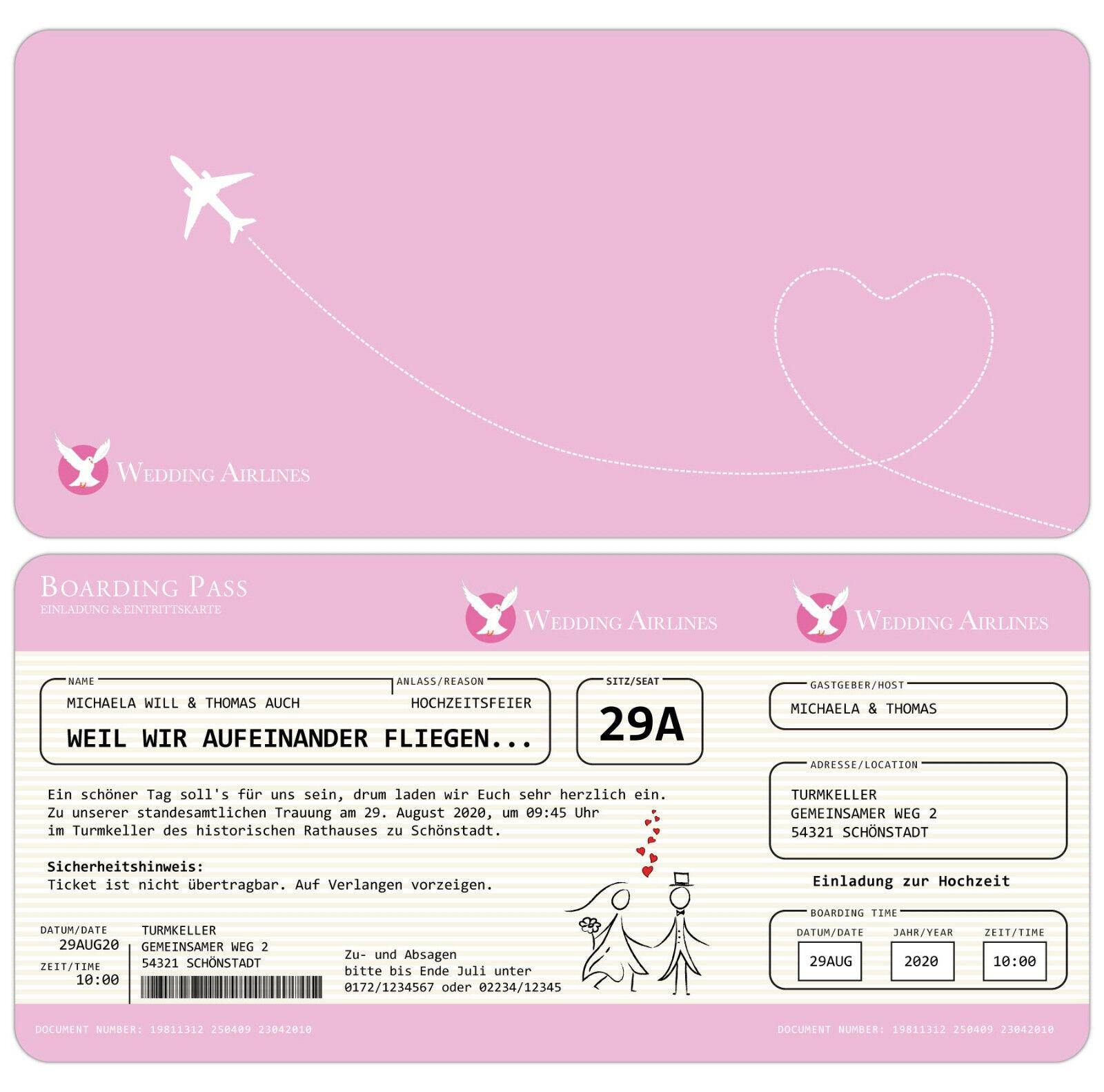 Einladung zur Hochzeit als Flugticket - Einladungskarte - Ticket mit Perforation