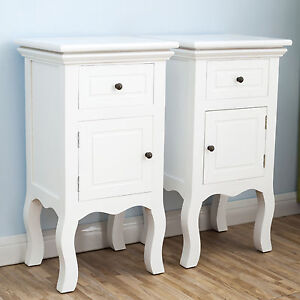 2-White-Bedside-Table-Cabinet-Chest-of-Drawer-Nightstand-Furniture-With-Door