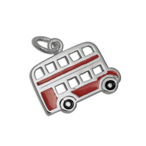 925 Sterling Silver /& Enamel Flat London Routemaster Bus Charm