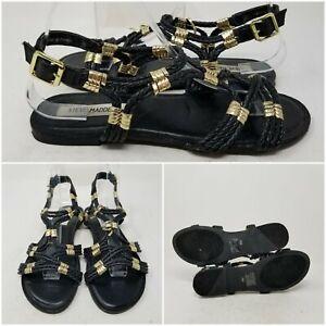 Steve Madden Black Woven Leather Ankle Slip On Sandal Slides Womens Size 9 M