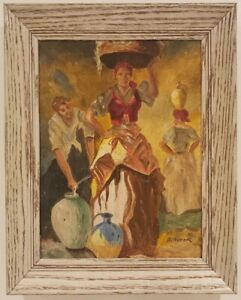 """Oil Painting on Canvas Portrait of Women Signed Framed Art  (14 1/2"""" x 12 1/2"""")"""