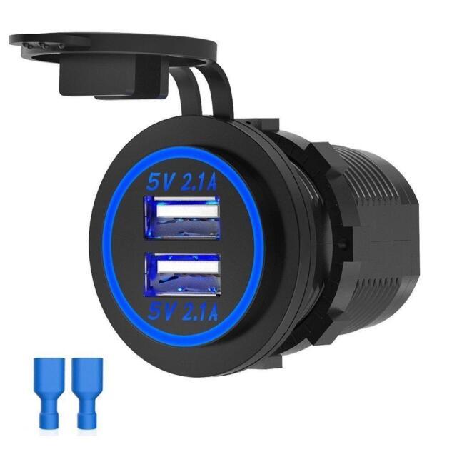 Dual USB Chargeur Douille étanche 4.2-A Prise D'Alimentation Voiture/Marine/Camper 12V/24V